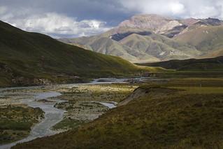 Amnye Machen mountain range river valley, Tibet 2018