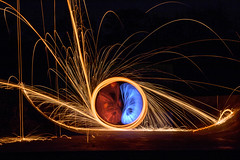 Wire wool spinning.