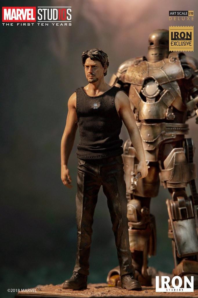 黃金十年的開始!! Iron Studios《鋼鐵人》東尼·史塔克 & 鋼鐵人馬克1 豪華版 Tony Stark & Mark I Deluxe 1/10 比例全身雕像作品