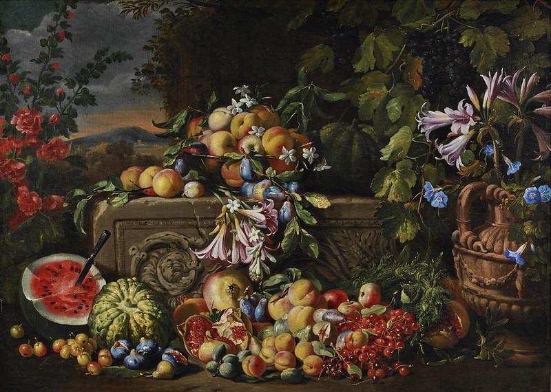 Abraham Brueghel -  A still life of a watermelon, cherries, peaches, apricots, plums...