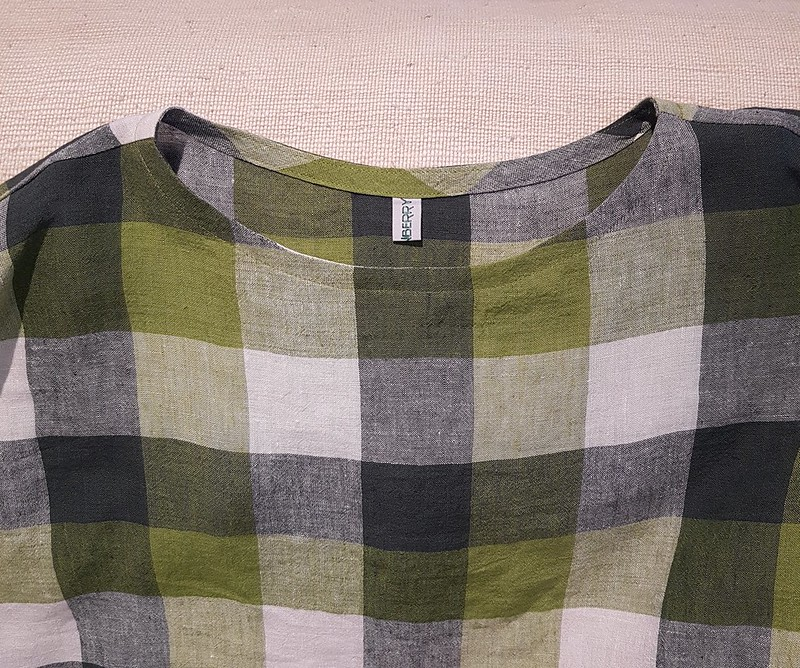Tessuti Athina top in checked linen from The Cloth Shop Ivanhoe