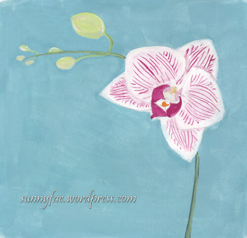 orchid painted with gouache
