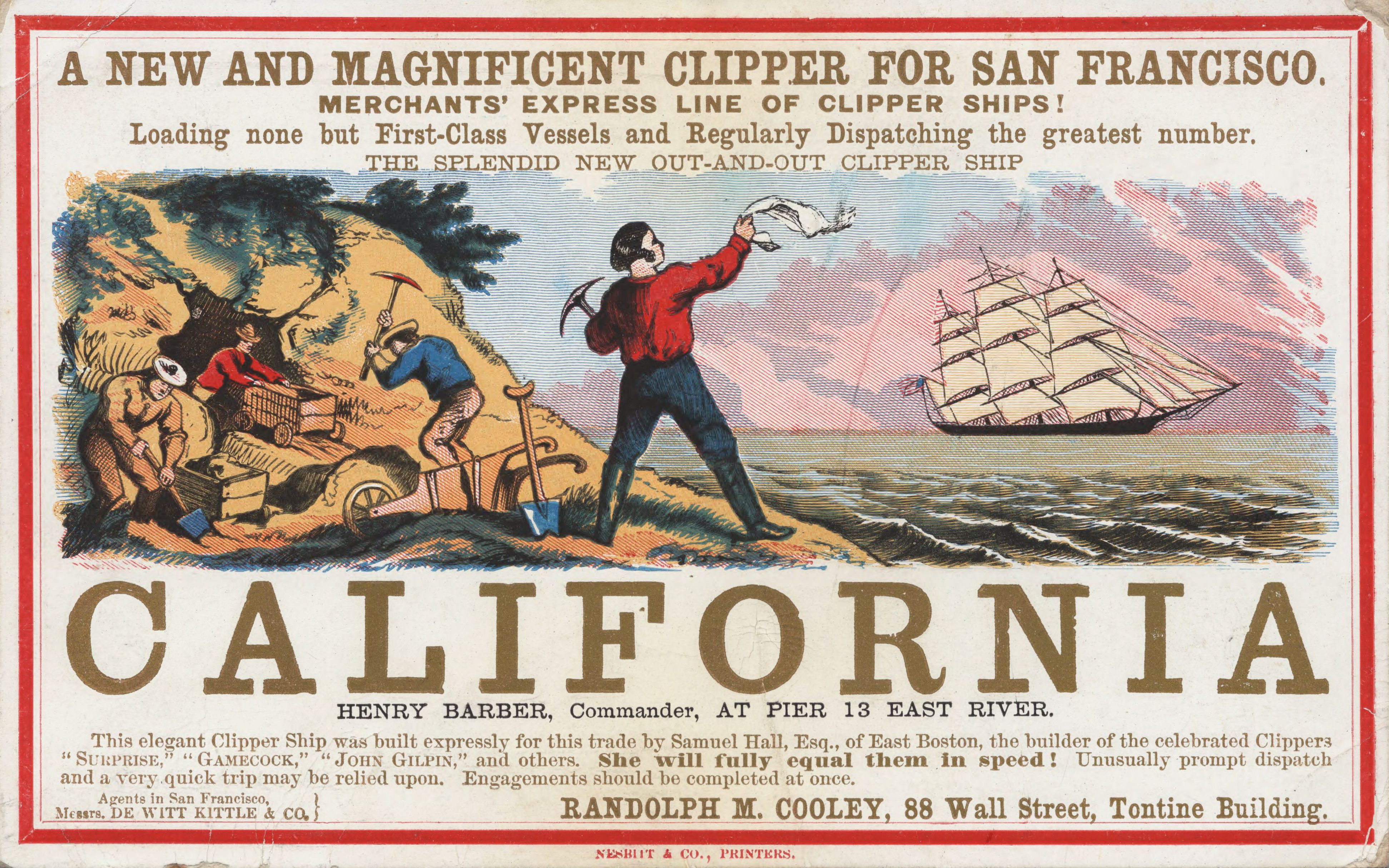 Sailing card for the clipper ship California, depicting scenes from the California gold rush, circa 1850.