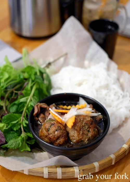Bun cha Hanoi smoky grilled pork meatball vermicelli salad at Mam Mam Vietnamese restaurant in Bankstown