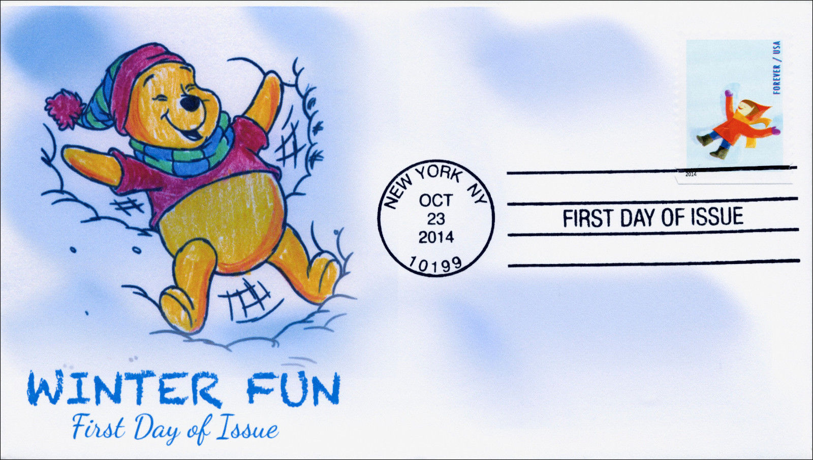 United States - Scott #4940 (2014) first day cover featuring a cachet of Winnie the Pooh creating a snow angel