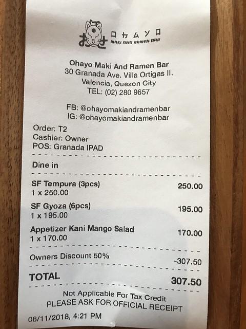 Ohayo receipt