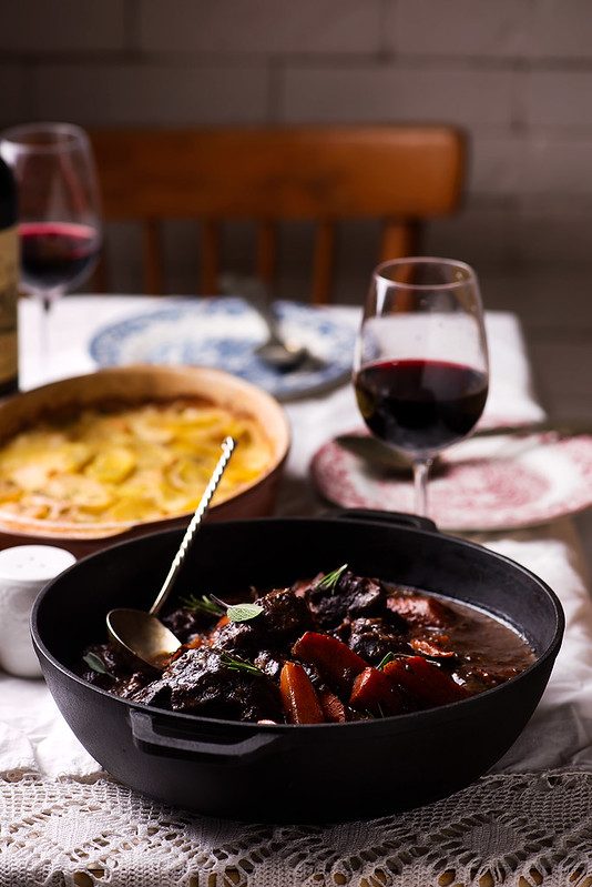 Beef cheeks in red wine with carrots and potato gratin.10 copy