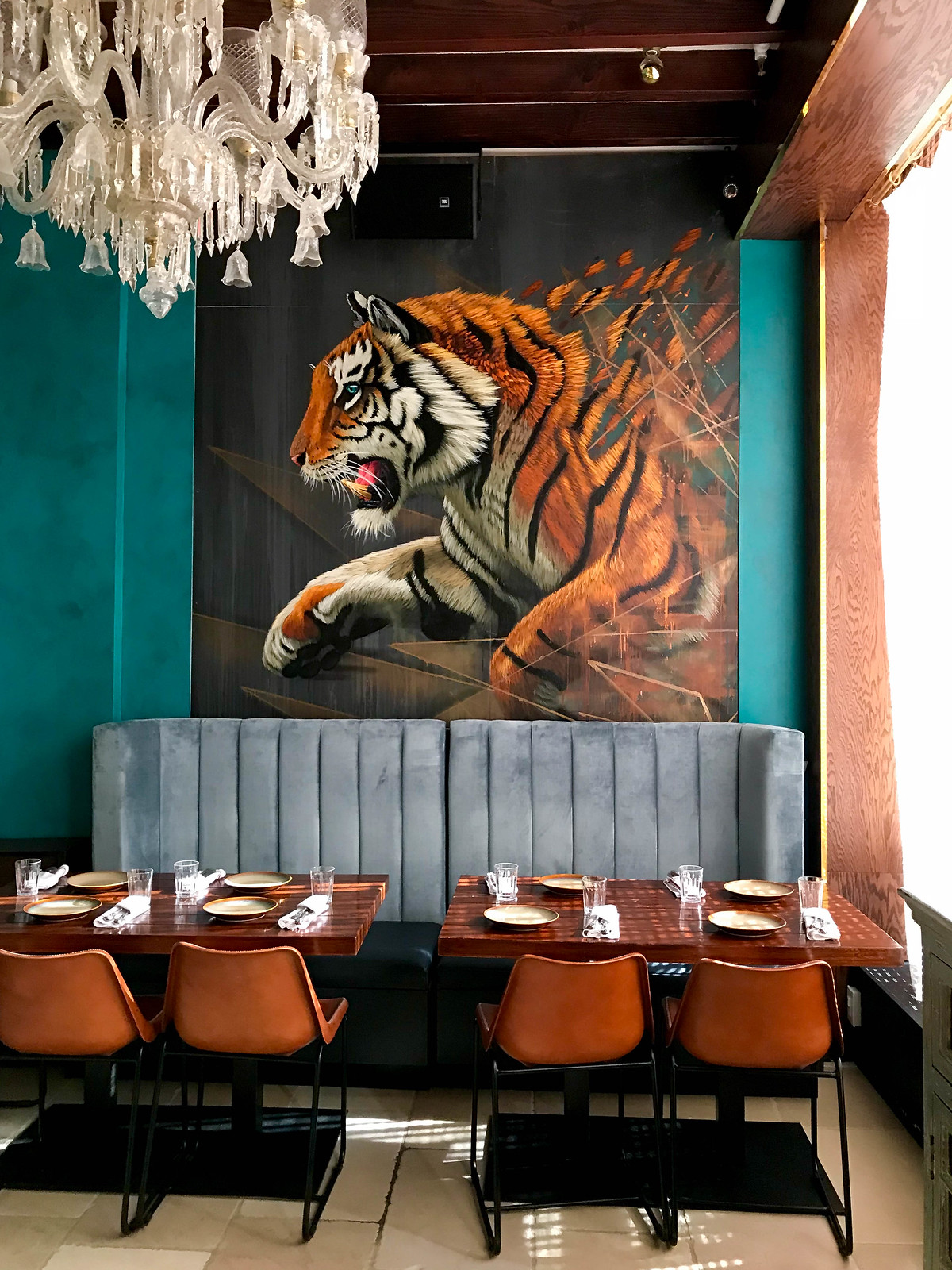 Gupshup New York Indian Restaurant Interior Decor Tiger Painting Velvet Blue Bench