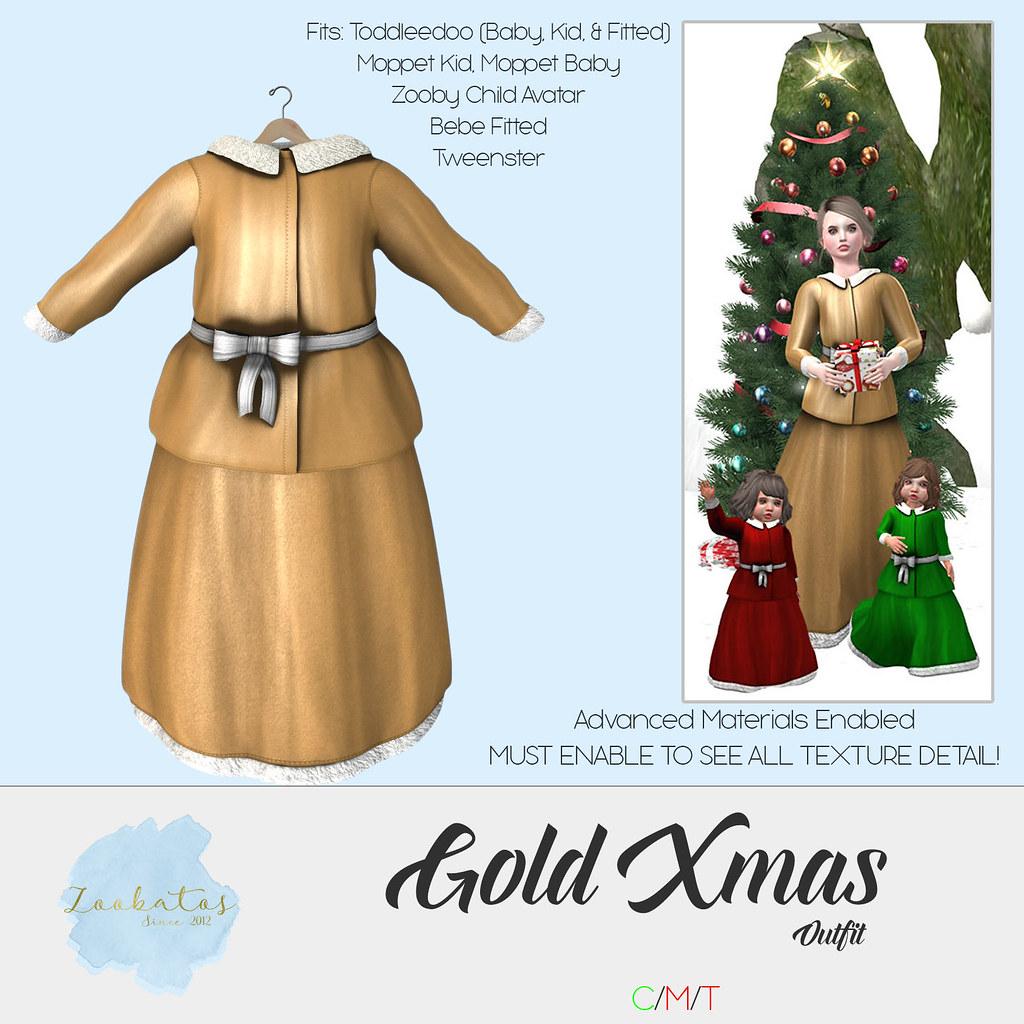 Zoobatos – Gold Xmas Outfit