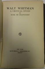 Penn Libraries 811W YDe Whitman copy: Title page