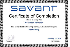 Alexander Sakharov - Networking - Completion Certificate