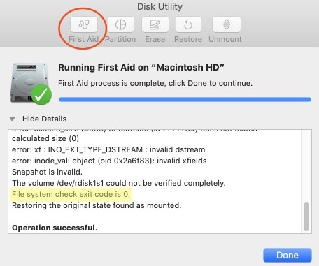 """Disk Utility error: """"File system check exit code is 8"""""""