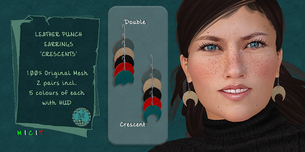 Macca – Leather Punch Earrings Crescents