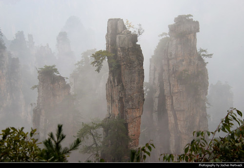 Wulingyuan Scenic Area on a foggy day, Zhangjiajie, Hunan, China