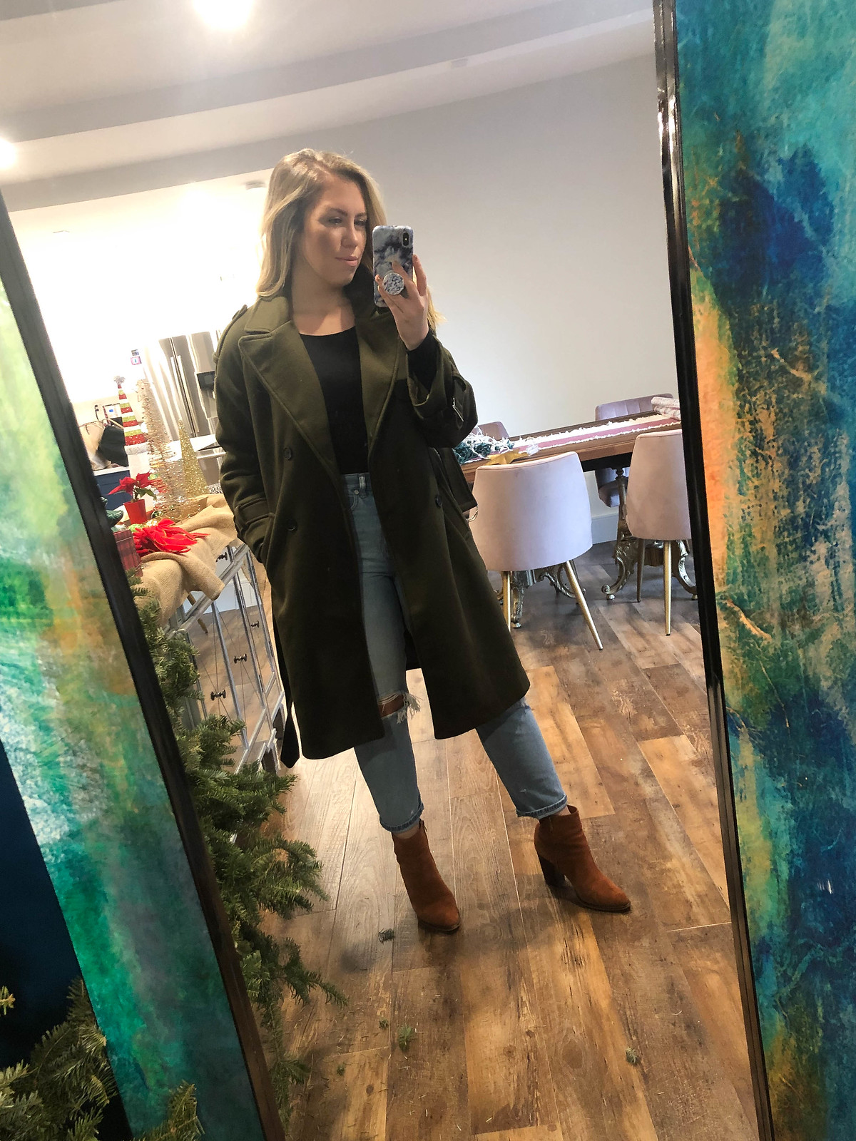 Chicwish Snug Double-Breasted Wool-Blend Coat in Army Green