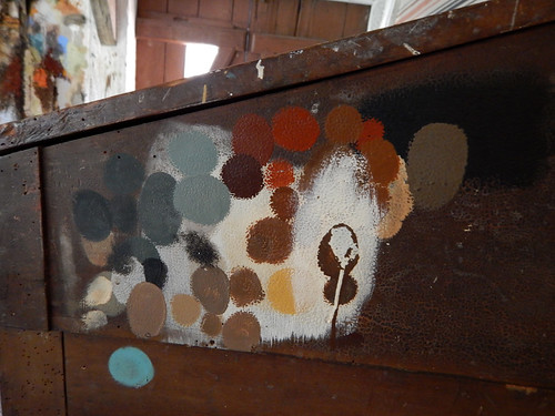 Samples of historical colours being tested in the recreated village of Den Gamle By in Aarhus, Denmark