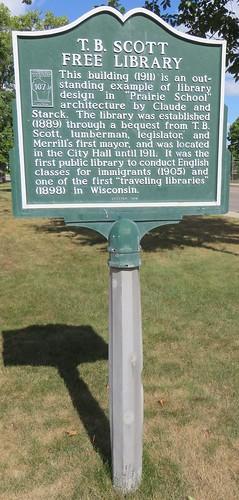 T. B. Scott Free Library Marker (Merrill, Wisconsin)