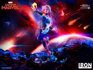 精彩的雙頭雕一次擁有!! Iron Studios Battle Diorama 系列《驚奇隊長》驚奇隊長 Captain Marvel 1/10 比例決鬥場景雕像作品