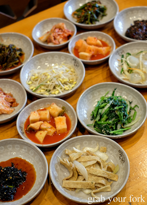 Banchan at Myeong Dong Korean Restaurant in North Strathfield