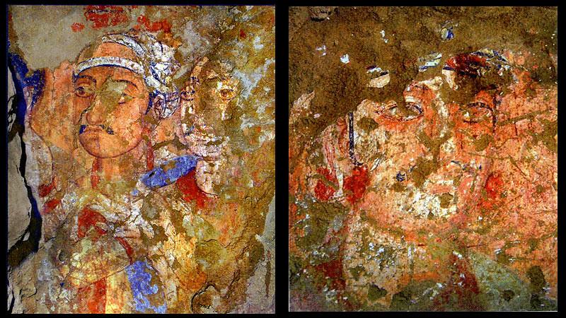Dua bagian dari mural di Kara Tepe.