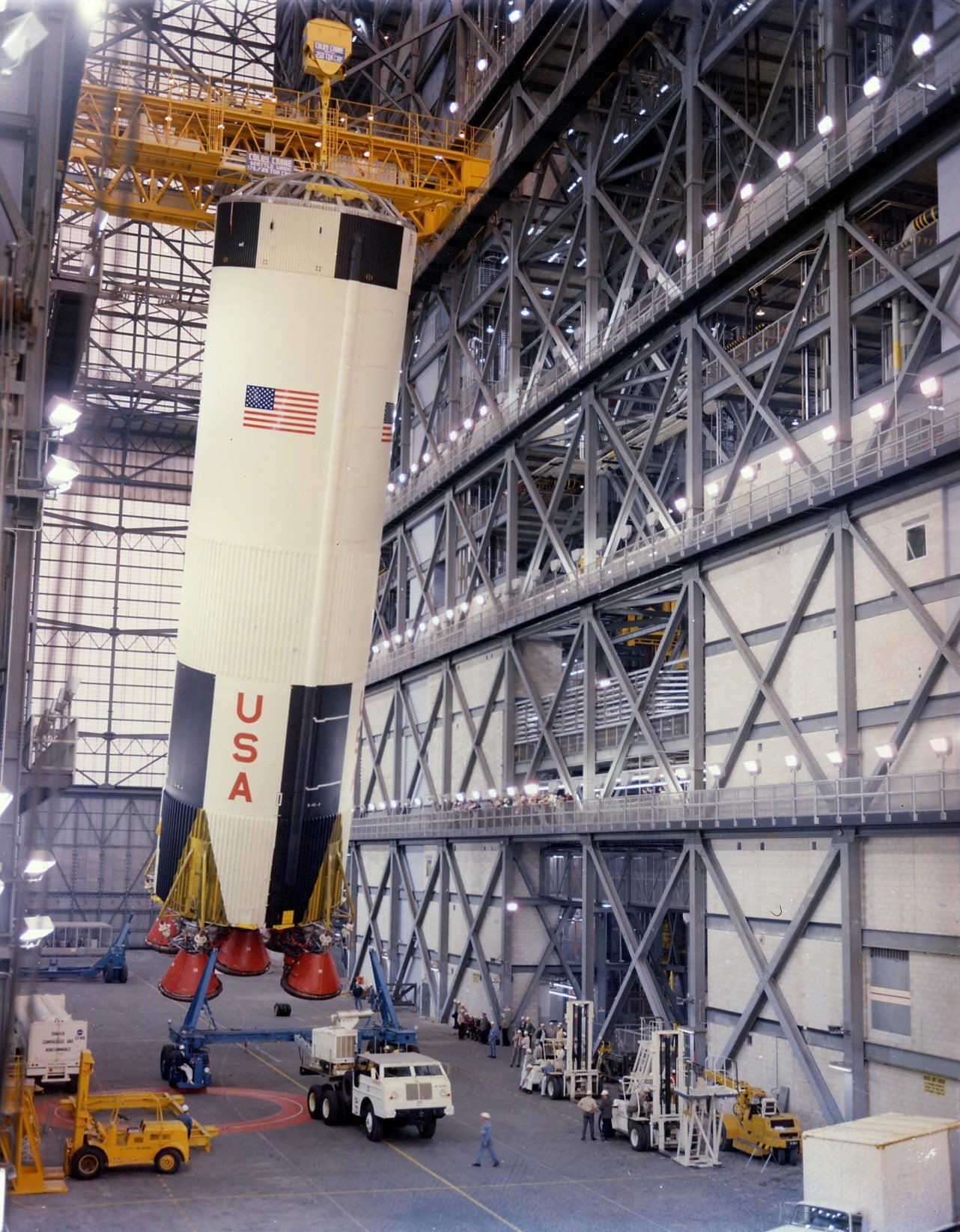 The S-IC first stage of the Apollo 8 Saturn V being erected in the Vertical Assembly Building on February 1, 1968.