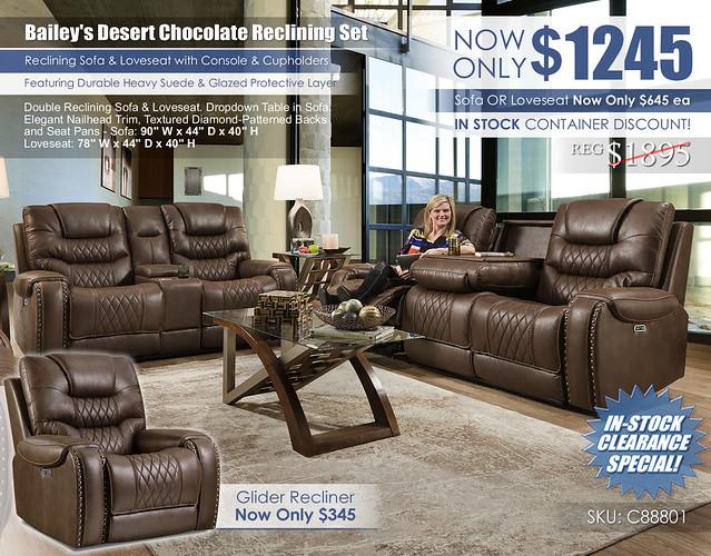 Baileys Desert Chocolate Reclining Sofa & Loveseat Set_88801_stamp