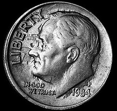 1984-P Roosevelt Dime With Clashed Dies obverse