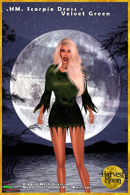 Harvest Moon – Scorpio Dress – Velvet Green