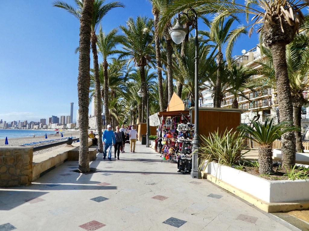 The promenade along the Poniente beach, Benidorm