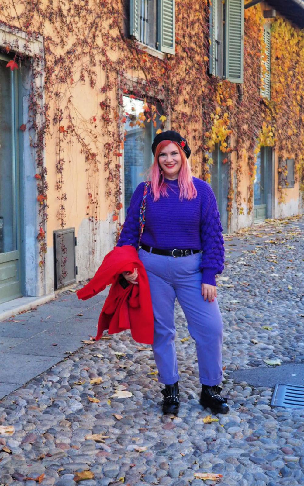 Outfit plus size curvy viola e rosso (6)
