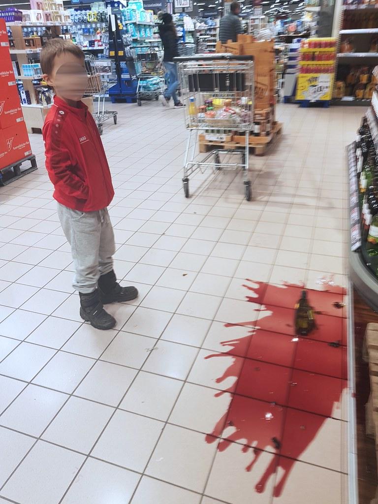 Weinflaschenunfall