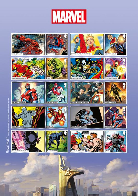 Známky Veľká Británia 2019 Marvel Superheroes MINT bloček
