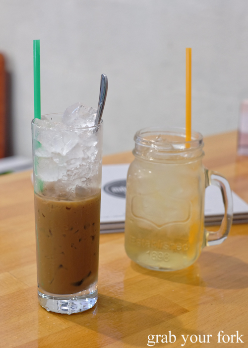 Iced white coffee and iced tea at Mam Mam Vietnamese restaurant in Bankstown
