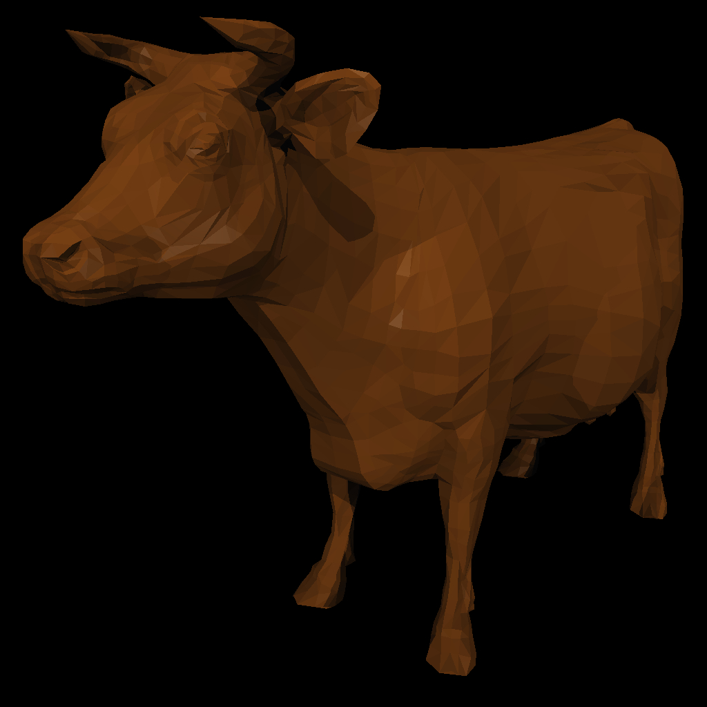 A cow made of triangles (.obj file): before smoothing