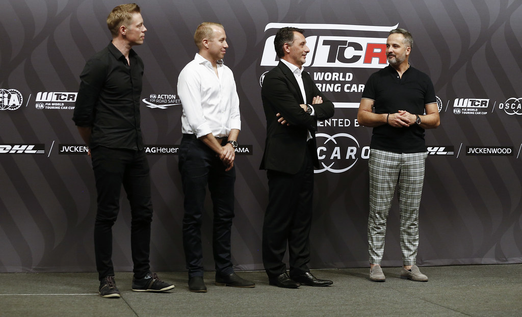 BJORK Thed, (swe), Hyundai i30 N TCR team Yvan Muller Racing, portrait MULLER Yvan, (fra), Hyundai i30 N TCR team Yvan Muller Racing, portrait RIBEIRO François, WTCR Eurosport Motorsport Director, portrait LEGOUIX Alexandra, (gbr), Eurosport Tv Presenter, portrait prize giving ceremony  during the 2018 FIA WTCR World Touring Car cup of Macau, Circuito da Guia, from november  15 to 18 - Photo Francois Flamand / DPPI