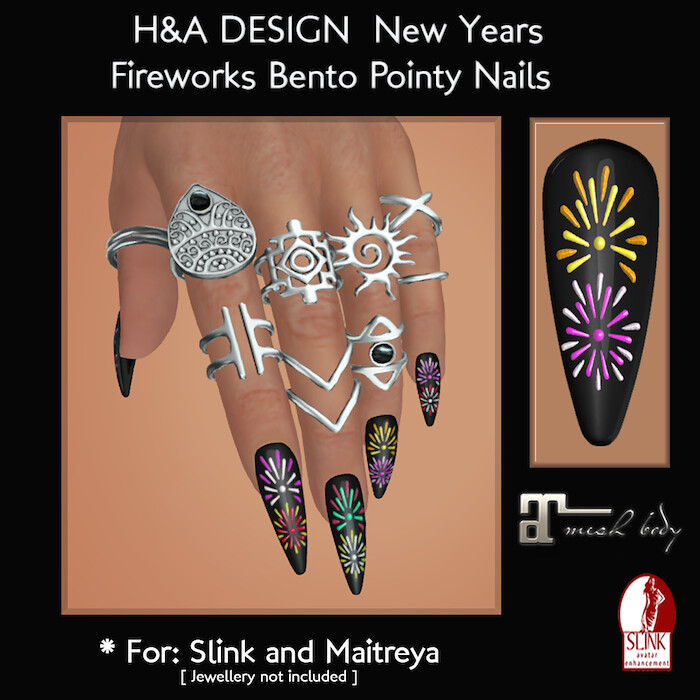 [H&A Designs] - New Year Fireworks Bento Pointy Nails - TeleportHub.com Live!