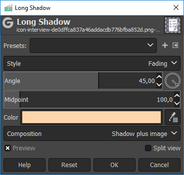 long shadow gimp property
