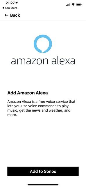 Sonos iOS App - Settings - Voice Services - Amazon Alexa