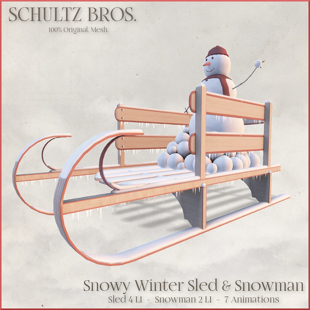 Snowy Winter Sled and Snowman 1024