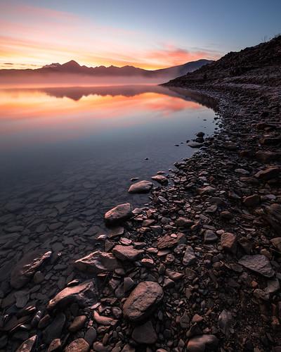 Campotosto Lake, sunrise.