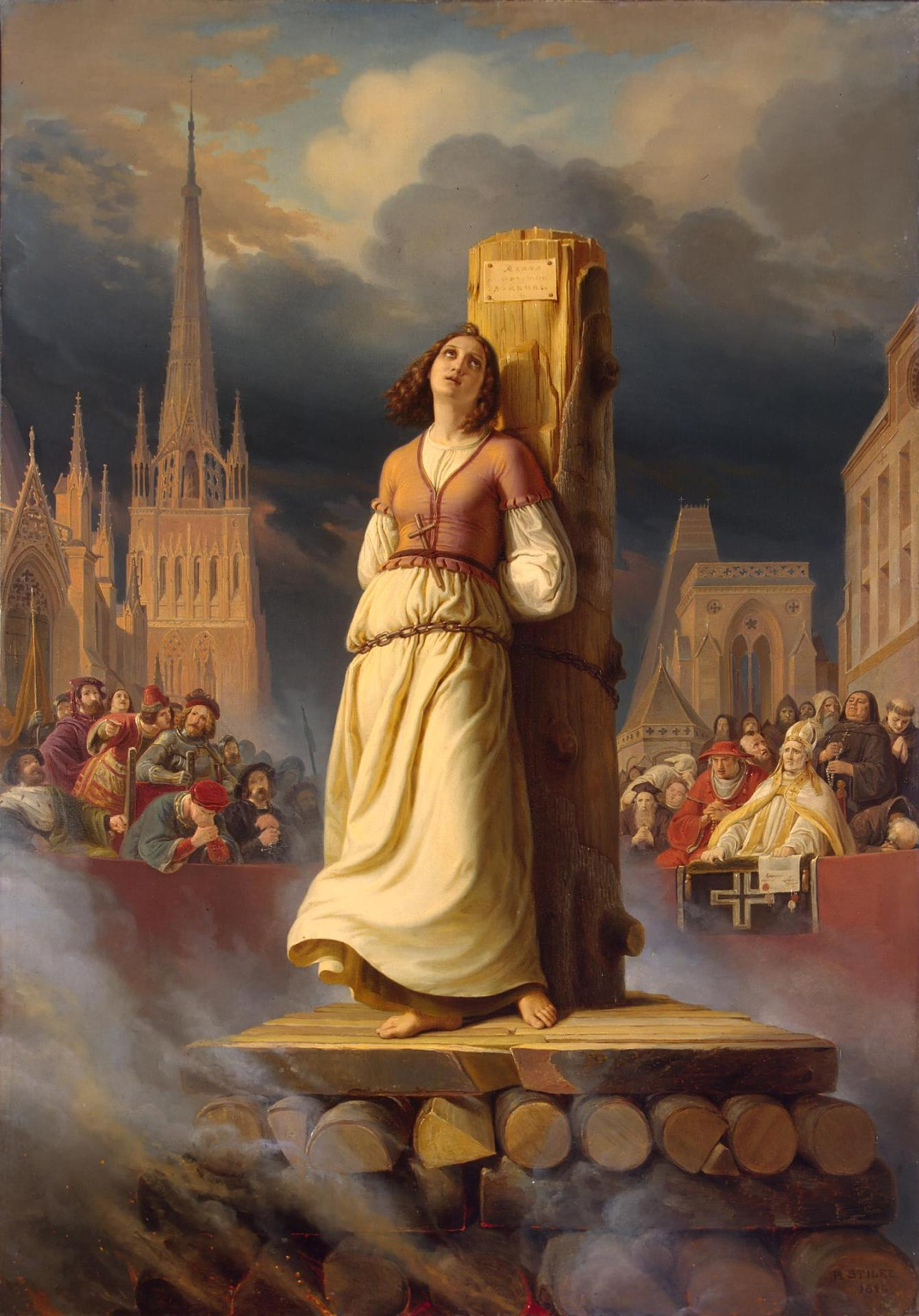 Joan of Arc's Death at the Stake by Hermann Stilke, oil on canvas, 1843. Right-hand part of The Life of Joan of Arc Triptych in room 350 of the General Staff Building at the State Hermitage Museum (Госуда́рственный Эрмита́ж) in Saint Petersburg, Russia.