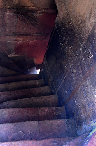 Stairs leading downwards at the Agra Fort, a 16th-century Mughal fortress, is another UNESCO World Heritage site in Agra, and in its own way just as beautiful as the Taj Mahal