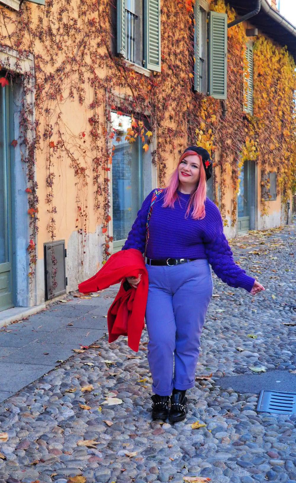 Outfit plus size curvy viola e rosso (4)