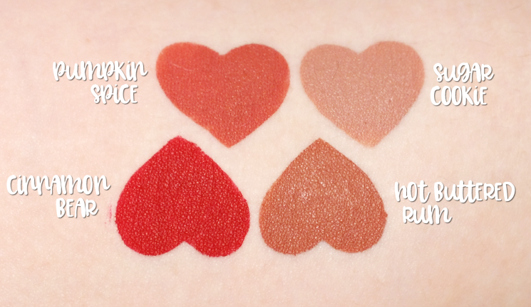 too faced sweet smell of christmas mini melted matte set swatches (1)