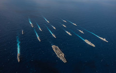 USS Ronald Reagan (CVN 76) and JS Hyuga (DDH 181) sail in formation with 16 other U.S. Navy and JMSDF ships during Keen Sword, Nov. 8. (U.S. Navy/MC2 Kaila V. Peters )