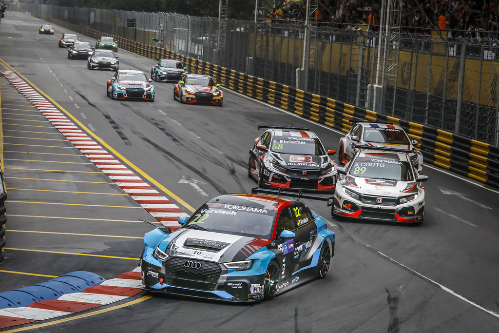 22 VERVISCH Frederic, (bel), Audi RS3 LMS TCR team Comtoyou Racing, action 89 Andre Couto (MAC), MacPro Racing Team, Honda Civic TCR, action  during the 2018 FIA WTCR World Touring Car cup of Macau, Circuito da Guia, from november  15 to 18 - Photo Francois Flamand / DPPI