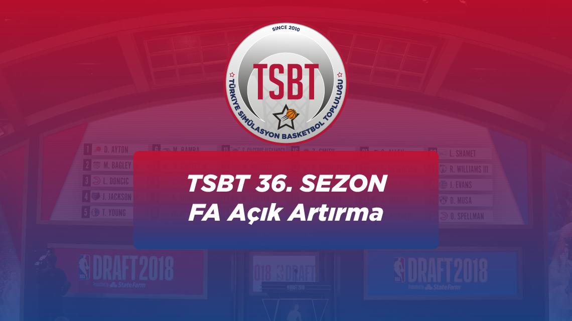36. Sezon TSBT Free Agent Açık Artırması