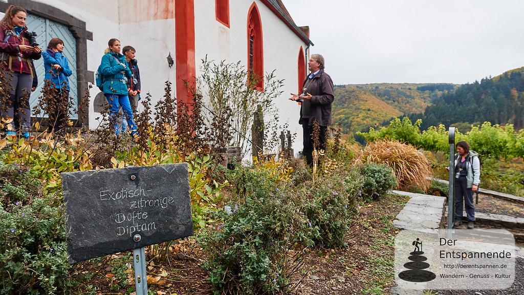 Albrecht Gietzen vor der Pfarrkirche St. Johannes (Hatzenport), erzählt vom Kräutergarten