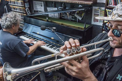 Eric Benny Bloom and David Torkanowsky at WWOZ's 38th birthday - 12.4.18. Photo by Ryan Hodgson-Rigsbee rhrphoto.com.