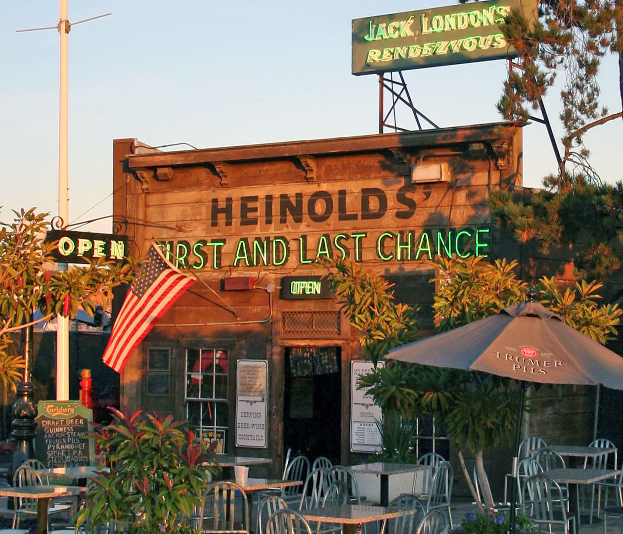 Heinold's First and Last Chance -- a waterfront saloon opened by John (Johnny) M. Heinold in 1883, built from the remnants of an old whaling ship at the foot of Webster Street in Oakland, where it remains today. It is also known as